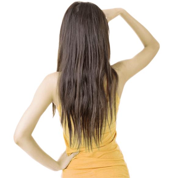 縮毛矯正で髪が傷んでしまった女性の画像