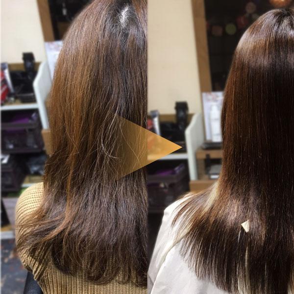 縮毛矯正で髪が綺麗になった女性の画像