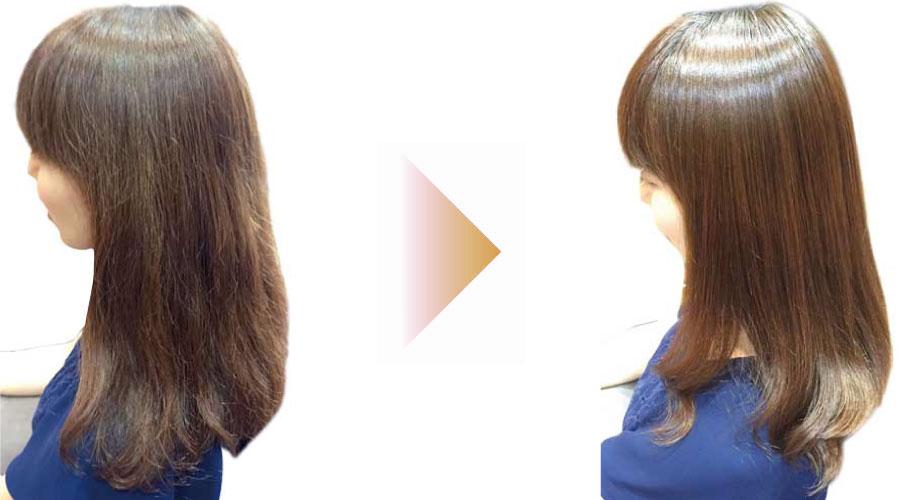 縮毛矯正とパーマをかけて髪が綺麗になった女性の画像